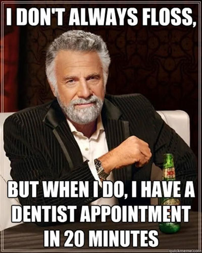 most interesting man flossing
